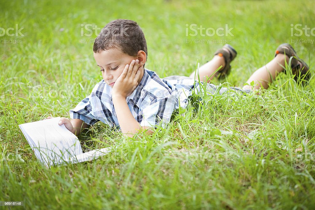 Cute kid reading a book while lying in grass royalty-free stock photo
