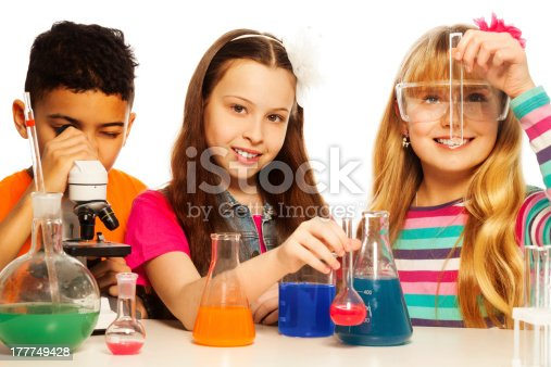 istock Cute kids and chemistry 177749428