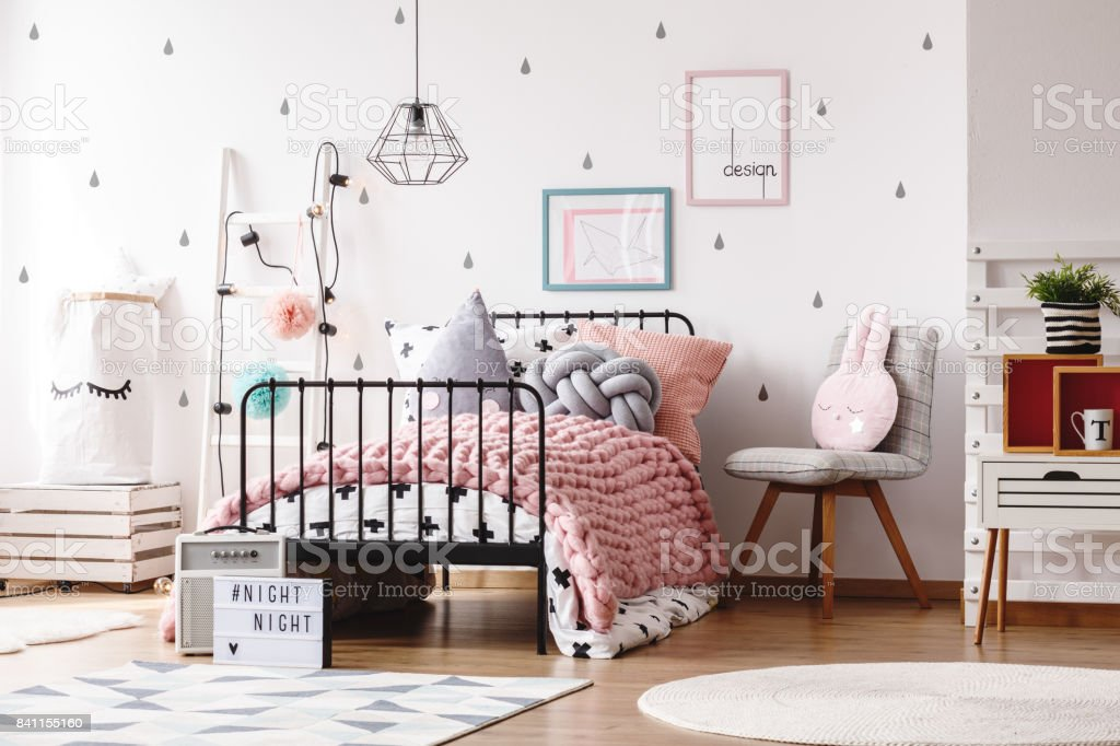 Cute kids bedroom with posters stock photo
