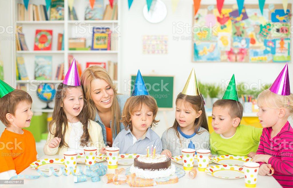 Cute kids in kindergarden. stock photo