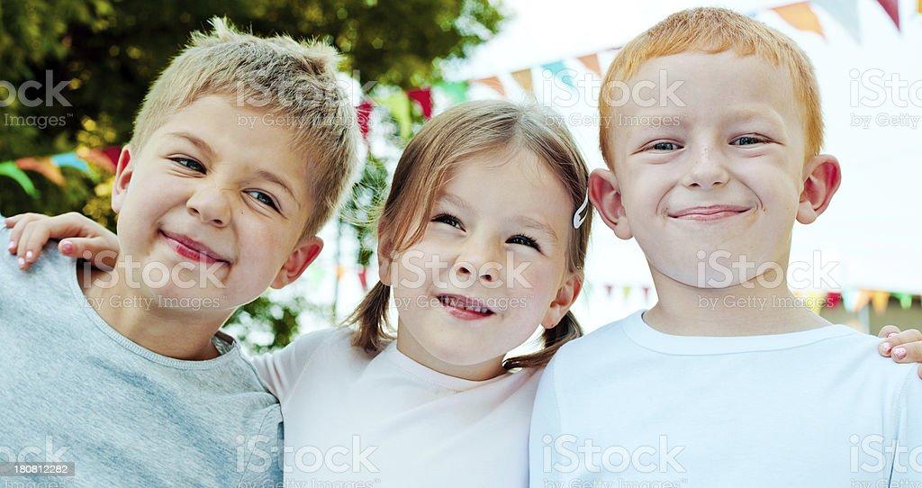 Cute Kids Outdoor portrait of three cute preschool kids. 4-5 Years Stock Photo