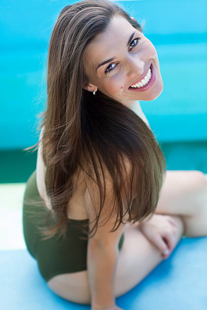 Cute latin girl in summer stock photo