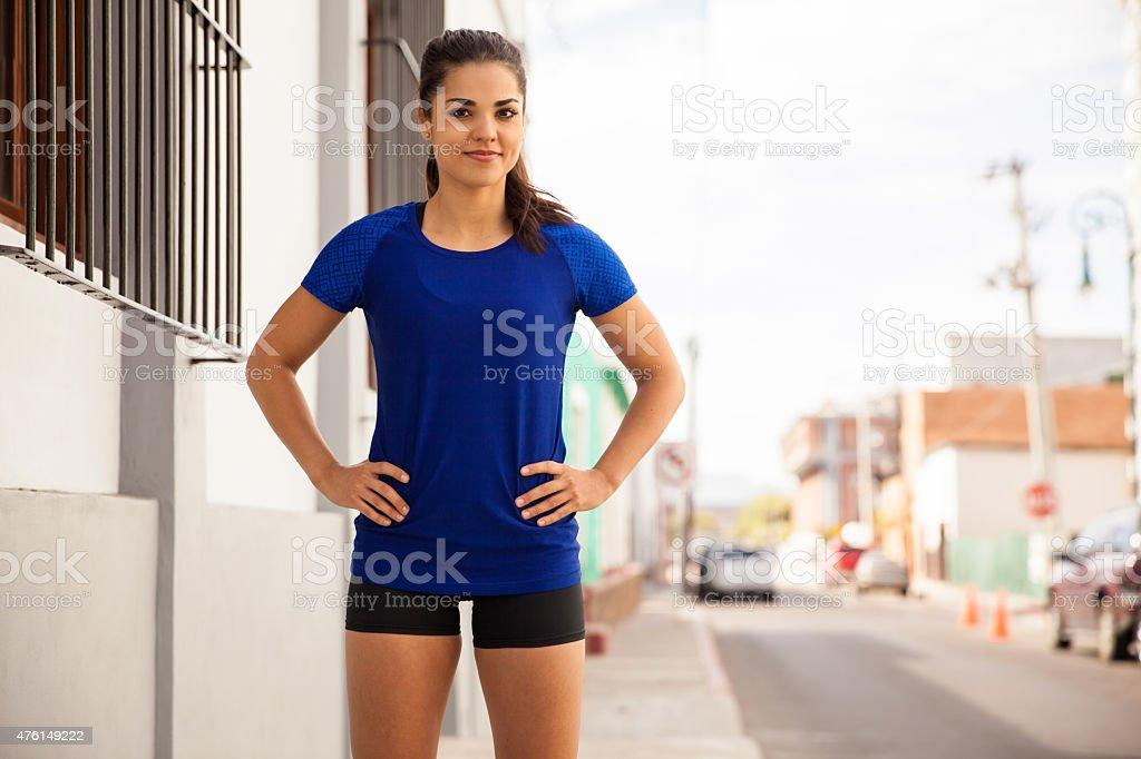 Cute Latin runner outdoors stock photo