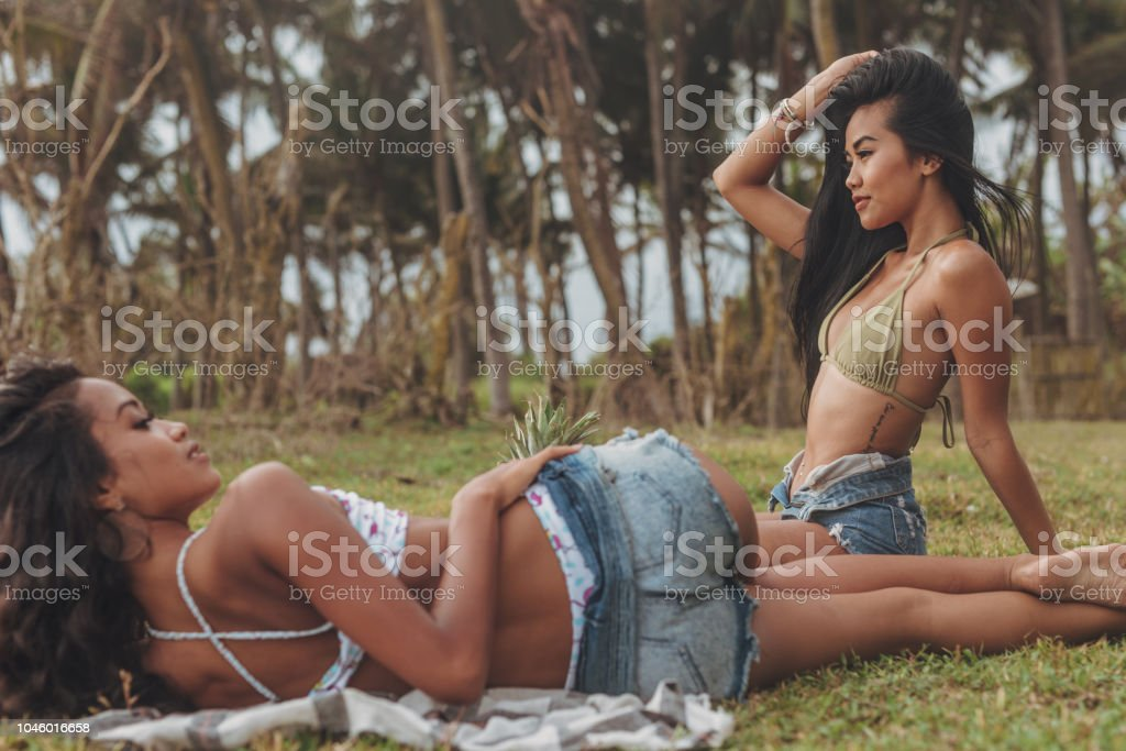Cute Lesbians Relaxing Royalty Free Stock Photo