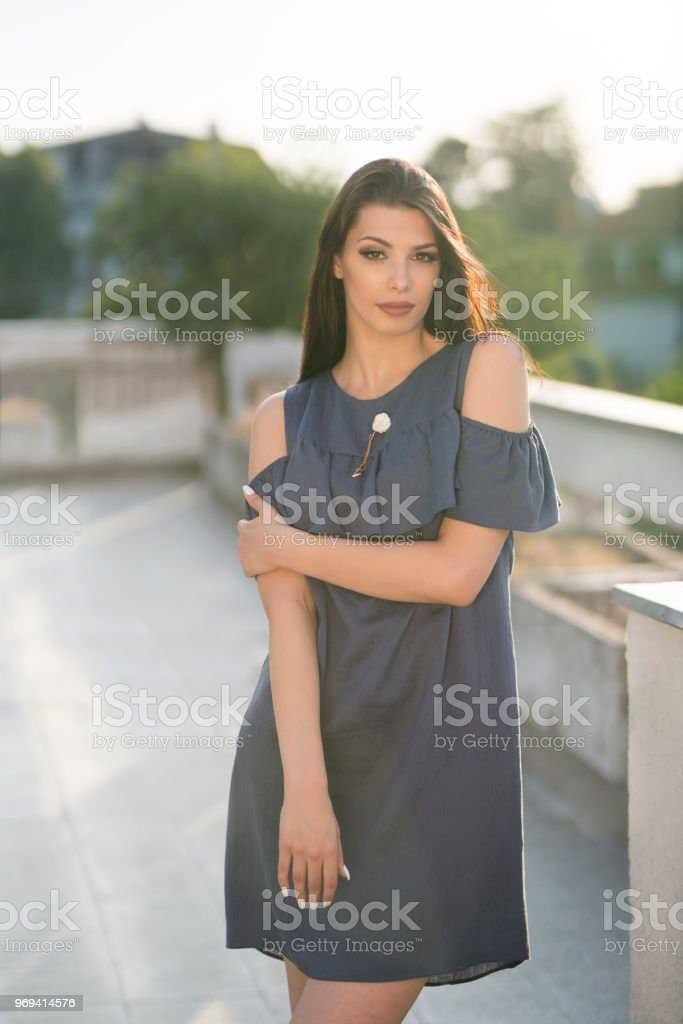 Cute Light Dress For Warm Spring Days stock photo