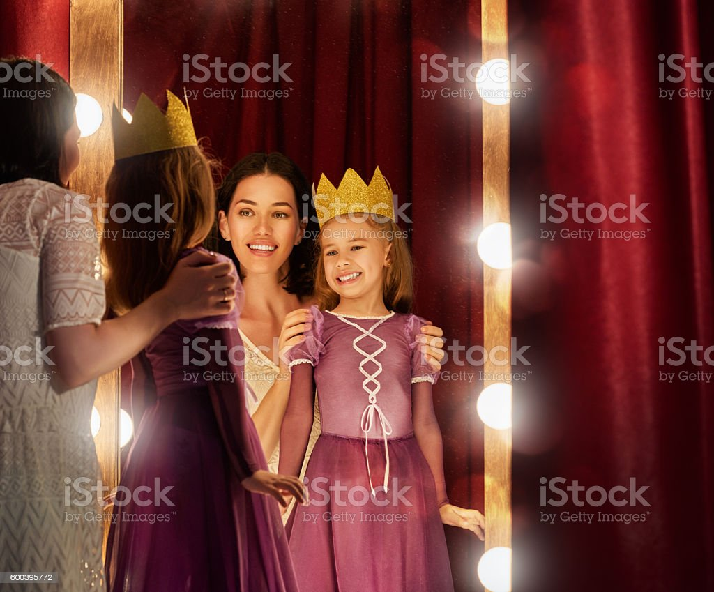Cute little actress. stock photo