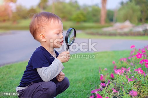 istock Cute little Asian 18 months / 1 year old toddler baby boy child exploring environment by looking through a magnifying glass in sunny day at beautiful garden, kid first experience & discovery concept 925396376