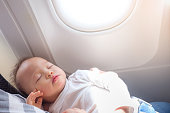 Cute little Asian 18 months / 1 year old toddler baby boy child sleeping on Airplane with copy space,Toddler boy sleeping on mother's laps while traveling in airplane, Flying with children concept