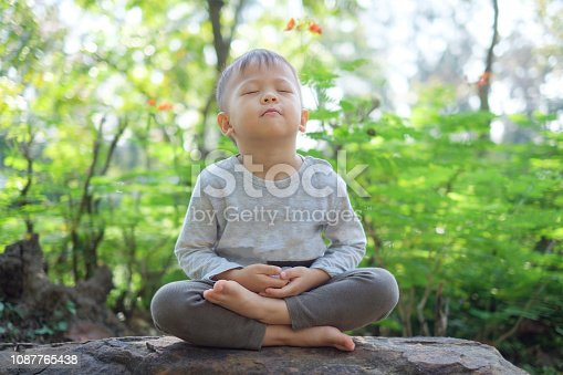 istock Cute little Asian 2 - 3 years old toddler baby boy child with eyes closed, barefoot practices yoga & meditating outdoors 1087765438