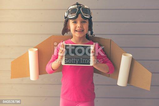 istock Cute little astronaut 540528796
