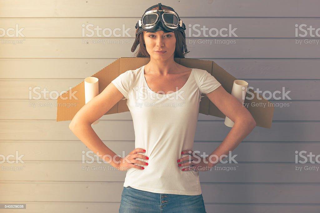 Cute little astronaut stock photo
