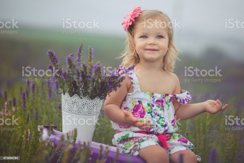 Cute little baby blong girl walking posing on meadow of forest wild lavender wearing stylish colourful drerss and holding teddy bear friend in tiny hands alone sitting on purple trunk case bag. stock photo