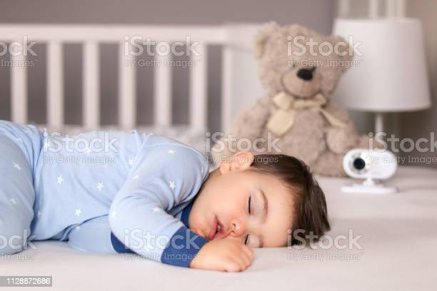 Cute little baby boy in light blue pajamas sleeping peacefully on bed picture id1128872686?b=1&k=6&m=1128872686&s=612x612&h=s0xzw48irlottg3qvrdiy hynh6pj6xyvuslhe6uieo=