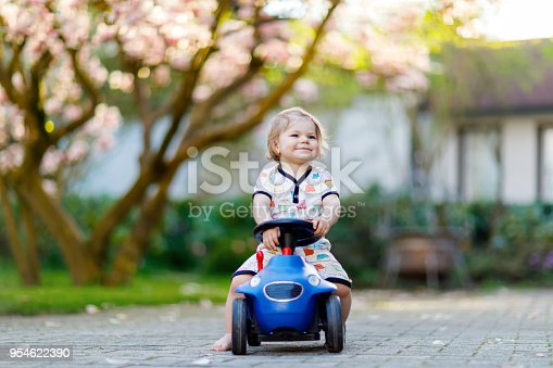 istock Cute little baby girl playing with blue small toy car in garden of home or nursery. Adorable beautiful toddler child with blossoming magnolia on background 954622390