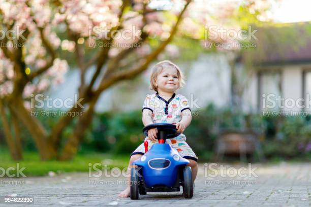 Cute little baby girl playing with blue small toy car in garden of picture id954622390?b=1&k=6&m=954622390&s=612x612&h=ye557kqxmixox c8f46j9leleiepum99ny5pzmlhmce=