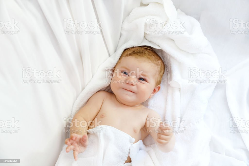 Cute Little Baby Playing With Own Feet After Taking Bath Adorable