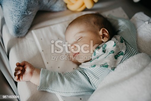 istock Cute little baby sleeping in Nursery Cot 987463094