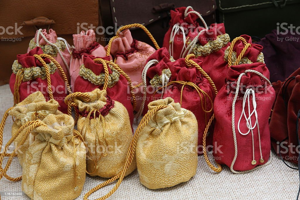 cute little bags to lay their coins or spices stock photo