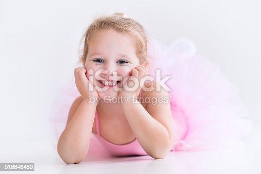 istock Cute little ballerina in pink tutu 518846480