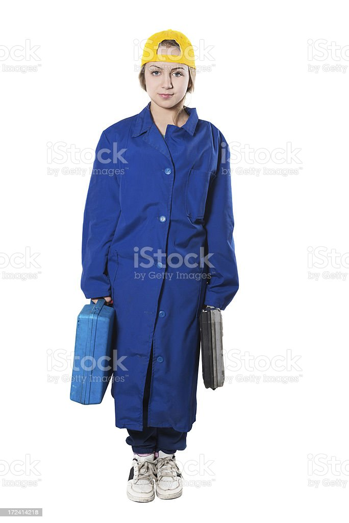 Cute Little Blonde Repairman Holding Toolboxes royalty-free stock photo