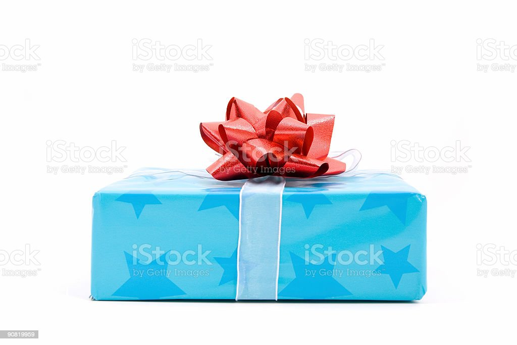 Cute little blue gift royalty-free stock photo