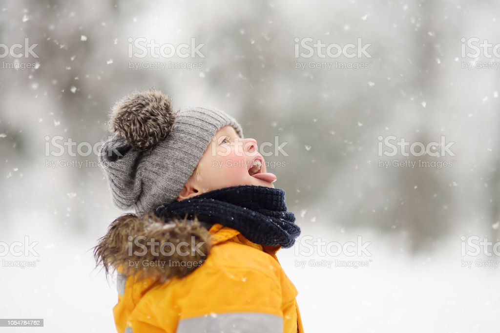 Cute little boy catching snowflakes with her tongue in beautiful winter park stock photo