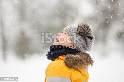 istock Cute little boy catching snowflakes with her tongue in beautiful winter park 1058812510