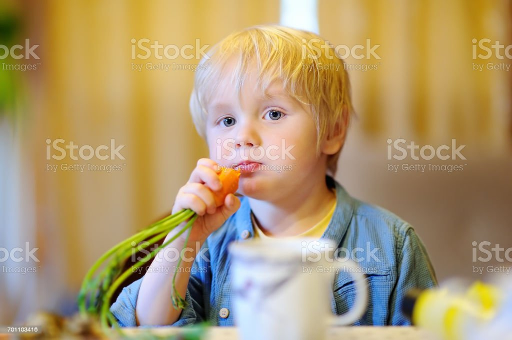 Cute little boy eating fresh organic carrot stock photo
