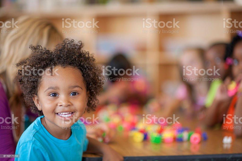 Cute Little Boy in Class stock photo