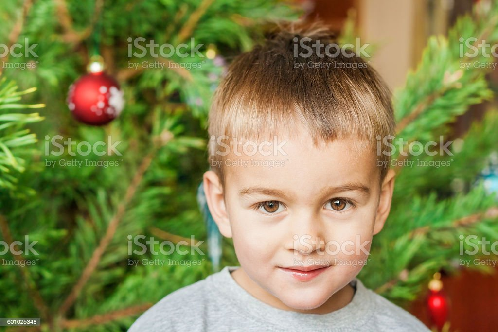 Cute little boy in front of a Christmas tree. stock photo