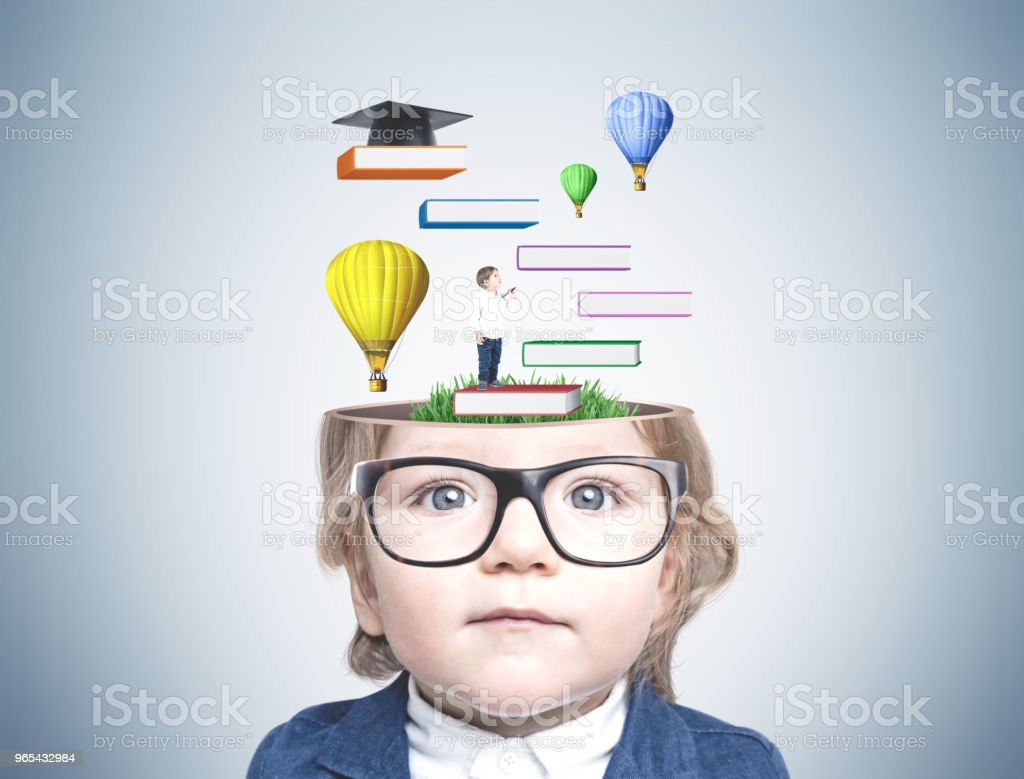 Cute little boy in glasses, education royalty-free stock photo