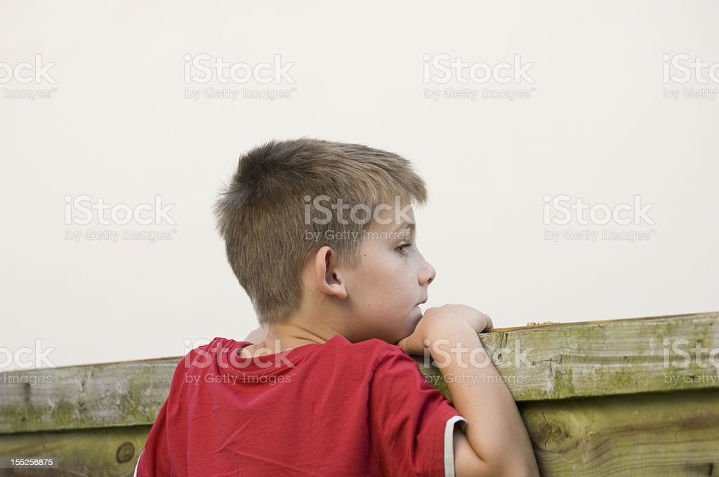 Cute little boy looking over fence playing being nosy stock photo