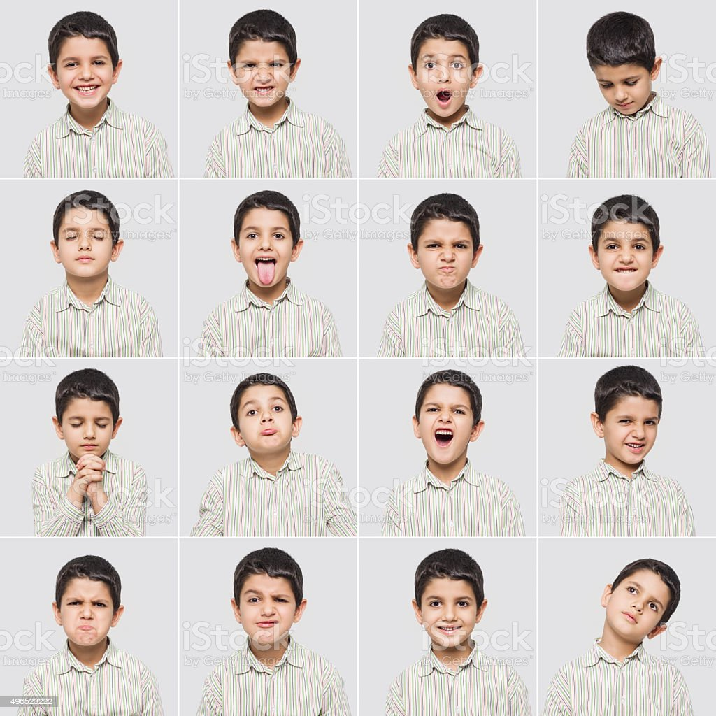 Cute little boy making various facial expressions stock photo