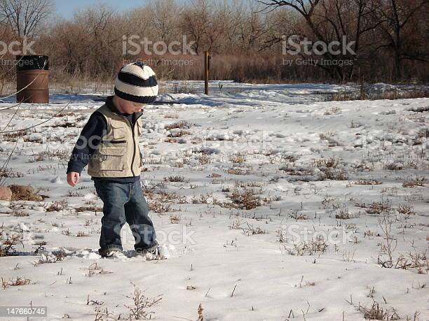 Cute Little Boy Playing in the Snow