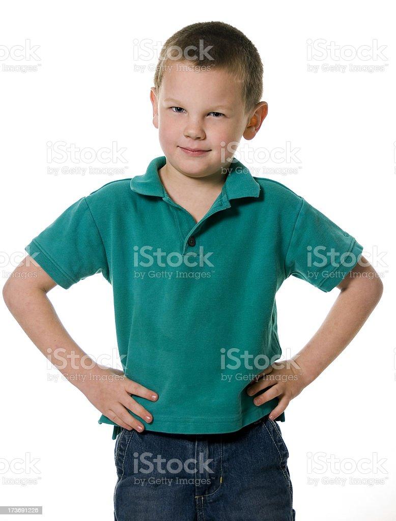 Cute Little Boy Posing in Green Shirt royalty-free stock photo