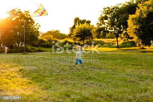 istock Cute little boy running with kite in the field on summer sunny day 1257276181