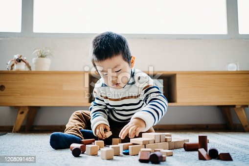 Cute little boy sitting on the floor in the living room playing wooden building blocks