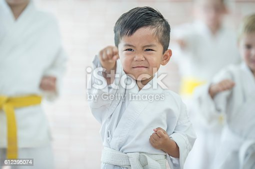 A multi-ethnic group of elementary age children are taking a karate class together at a health club. A cute little boy is raising his fist in the air to punch.