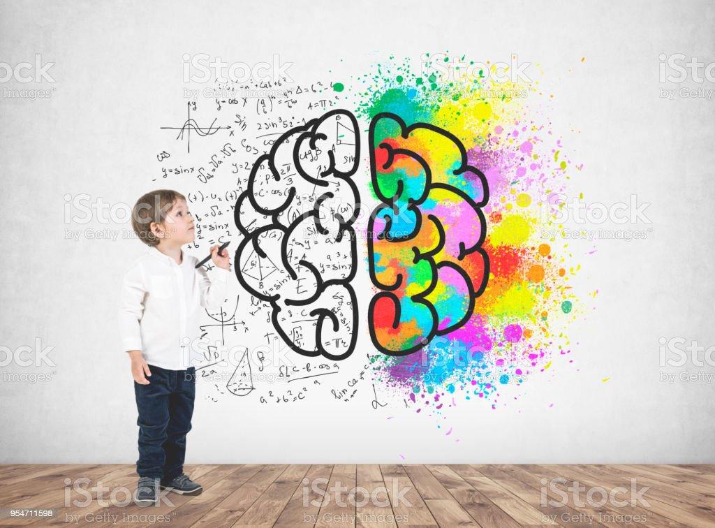 Cute little boy with a marker, brain stock photo