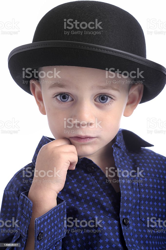 cute little boy with bowler hat making faces royalty-free stock photo 4674e7cc6702