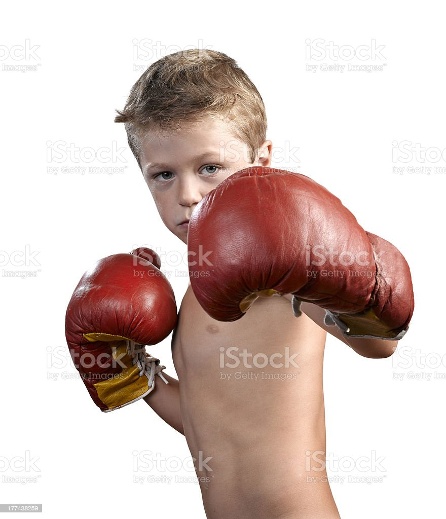 cute little boy with boxing gloves isolated on white stock photo