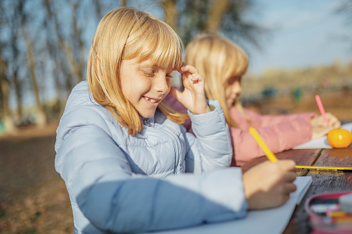 1042756824 istock photo Cute little caucasian twins sisters enjoying drawing at the backyard with paper 1217687548