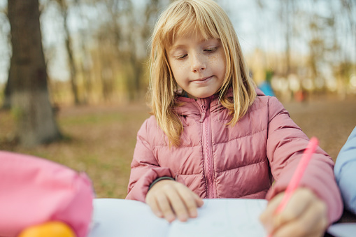 1042756824 istock photo Cute little caucasian twins sisters enjoying drawing at the backyard with paper 1217687570