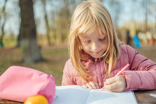 1042756824 istock photo Cute little caucasian twins sisters enjoying drawing at the backyard with paper 1217687587