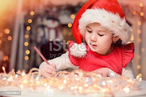 1062609644istockphoto Cute little child girl writes the letter to Santa Claus near Christmas tree indoors.Merry Christmas and Happy Holidays! 1156938842