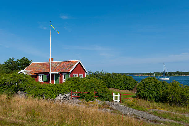 cute little cottage in the archipelago - summer sweden bildbanksfoton och bilder