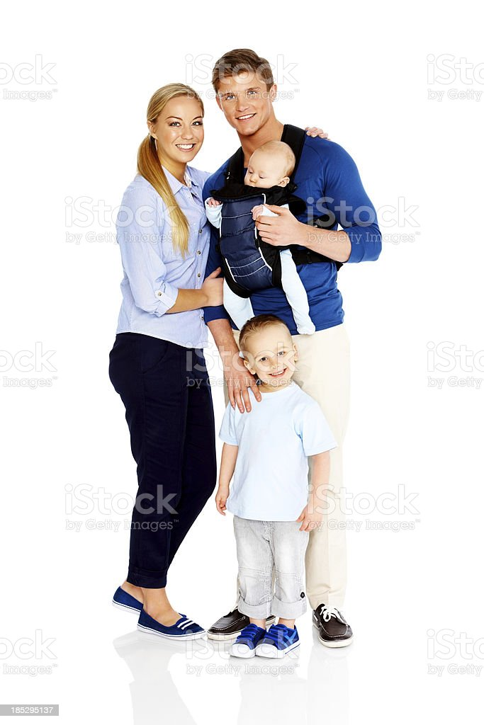 Cute little family portrait on white background royalty-free stock photo
