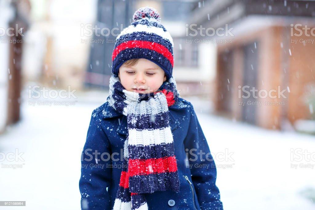 Cute Little Funny Kid Boy In Colorful Winter Fashion ...