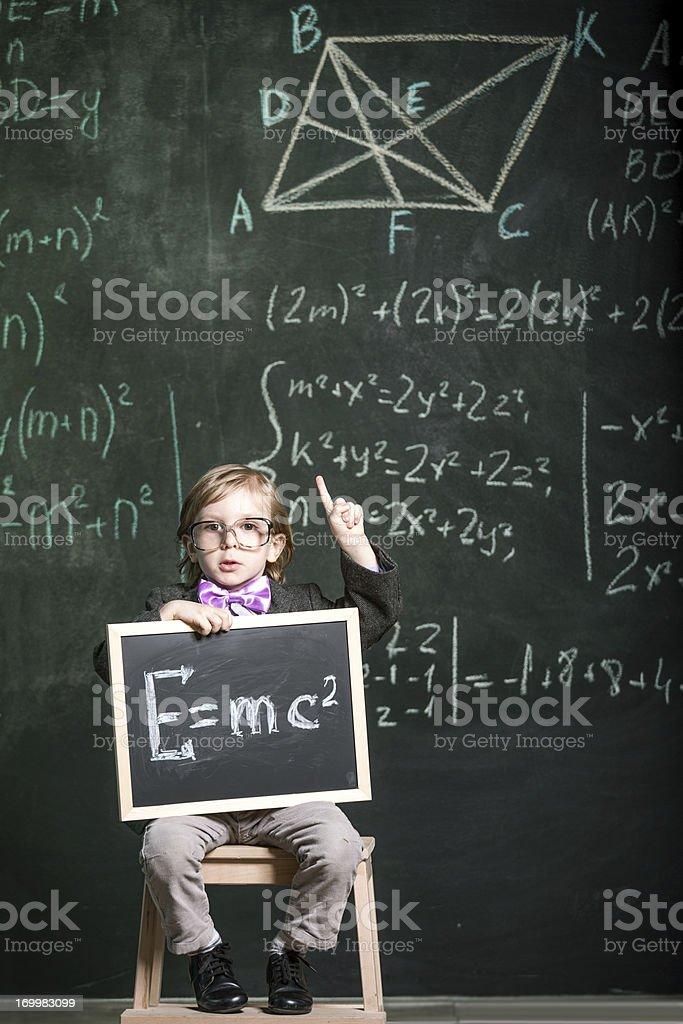 Cute little genius stock photo