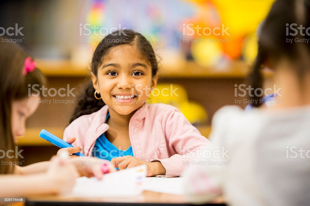Cute Little Girl Coloring stock photo